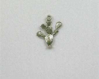 Sterling Silver 3-D Prickly Pear Cactus Charm