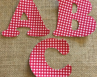 Red Gingham Fabric Iron on Letters- appliqué
