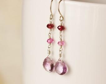Pink Amethyst Earrings, Pink Gemstone Earrings, Mozambique Garnet Earrings, Argentium Sterling Silver Earrings - Selene