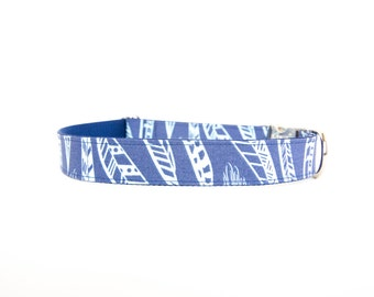 Dog Collar - Feathered Fido in Blue