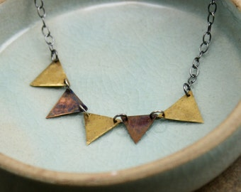 Banner Necklace in Copper, Brass and Sterling Silver