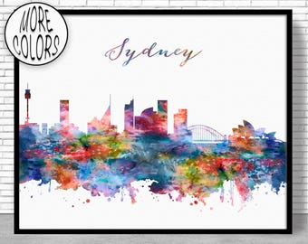Sydney Skyline Sydney Print Sydney Australia Office Decor City Skyline Prints City Skyline Art Office Wall Art ArtPrintZoneGift for Women