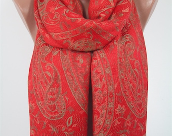 Mothers Day Gift For Her Pashmina Scarf Paisley Red Scarf Shawl   For Mom  Fashion Scarf Fall Winter Scarf Mom Fashion Accessories