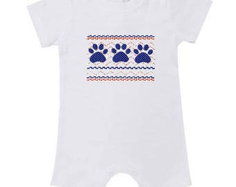 Game Day Bubble - Game Day Romper - Infant Clothing - Cotton Clothing - Auburn Tigers - Tigers - Smocking - Game Day - Team Colors