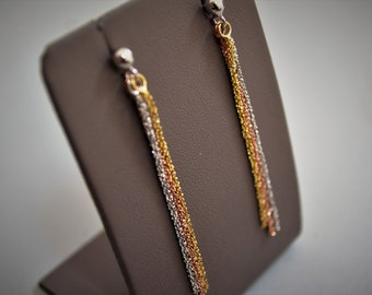 Tri-color Silver 925/000 dangling earrings