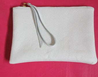 Leather Clutch Bag White Lined Day Evening Wristlet Bag