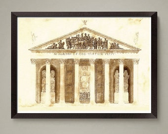 Ancient Greek Architectural drawing art print. Nice home or office decor, great gift. Size 8 x 10 or 11 x 14 inch.