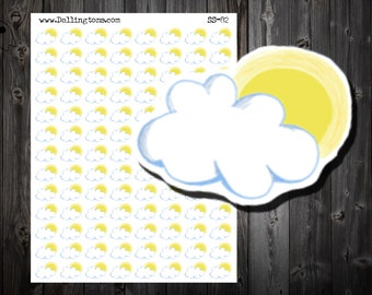 Weather Planner Stickers - Partly Cloudy Weather Stickers - Weather Stickers - Planner Stickers - Partly Sunny - Planner - Sticker - (SS-82)