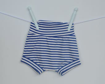 Blue striped stretch shorts - sizes 1 months to 4 years