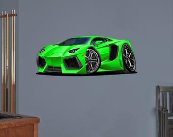 Car Wall Decal - Classic Sports Car Wall Decal - Lamborghini Wall Decal - Muscle Car Decals - Lamborghini Aventador V12