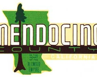 Vintage Style Mendocino County California  Travel Decal sticker