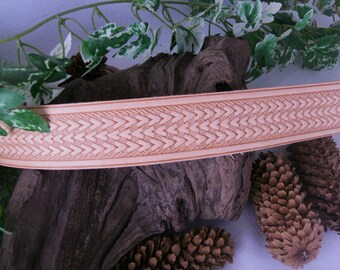 Leather belt with basket weave design totally handmade