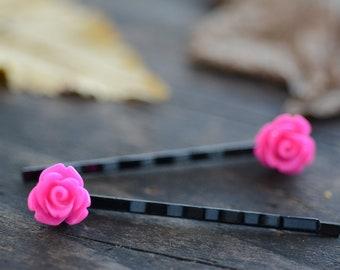 Hot Pink Rose Bobby Pins (2pk)