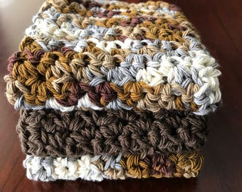 Cotton Washcloth Set of 3, 100% Cotton Washcloth, Crochet Washcloth, Spa Washcloth, Eco-Friendly Washcloth, Brown Washcloth