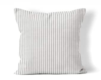 Farmhouse pillow cover, gray ticking pillow, pillow cover 18x18 inch, French country cottage chic, fixer upper style ticking sofa pillow