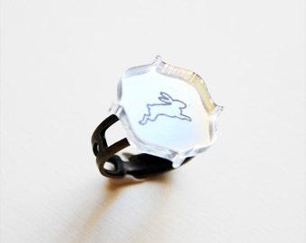 Rabbit Ring - Vintage Mirror Silhouette Ring
