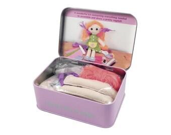Kids craft gift- Learn to sew a ragdoll - kids DIY sewing kit- girls sewing kit - girls stocking filler - girls