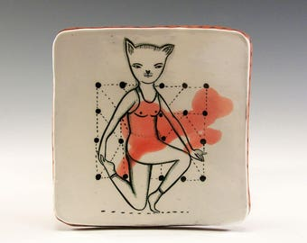 A Ceramic Square Plate by Jenny Mendes - Kitty Kat
