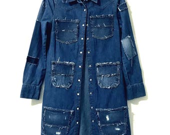 Stylish Distressed, dark blue denim, Light Trench Coat (Small to Medium)