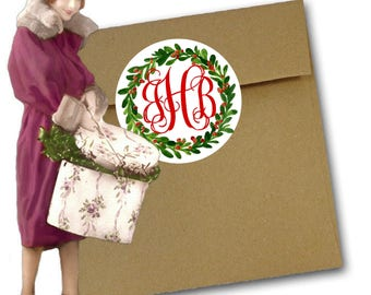 Christmas Monogram Stickers, Labels, Holiday Monogram Labels,