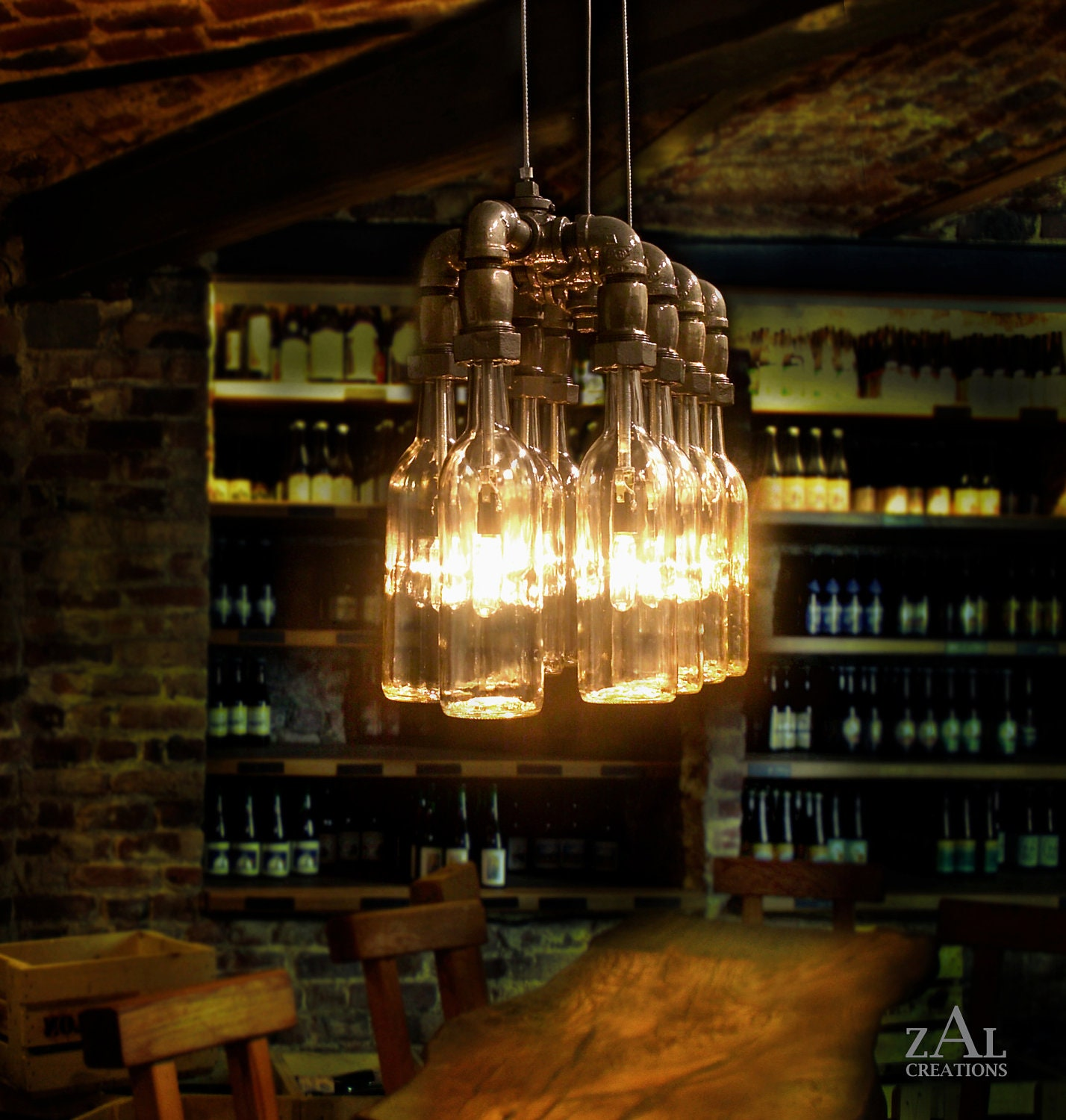 Pendant Light Wine Beer Bottles Suspension Lamp