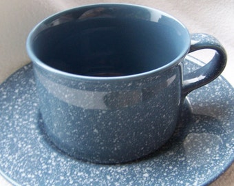 Mikasa Ultrastone County Blue Cup and Saucer Set
