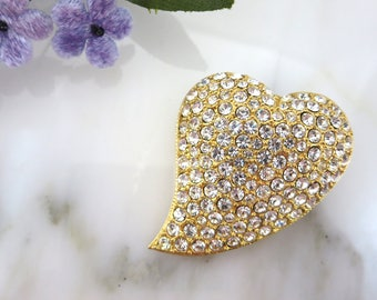 Rhinestone Heart Brooch - Sweetheart, Gold with Clear Stones Pave Look Vintage Costume Jewelry