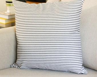 Black Ticking Stripe Pillow Cover