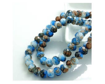Set of 10 faceted crystal glass blue marbled Brown beads 8 mm