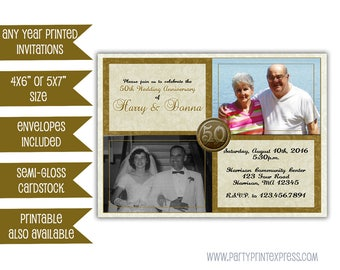 50th Wedding Anniversary Invitation - Then and Now Golden 50th Anniversary Party  - Elegant 50th Wedding Anniversary Invite - vow renewal