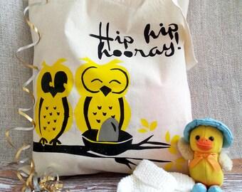 New Baby/Baby Shower Totebag Gift - 'Hip Hip Hooray!' Design