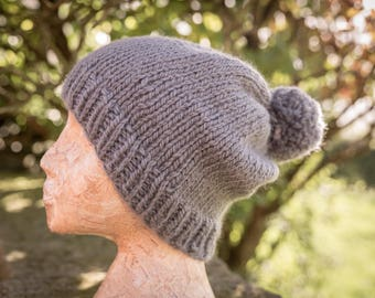 Super Chunky Pom Pom Hat - Medium Grey - Wool/Alpaca, Hand Knit Gift, Accessory; READY TO SHIP