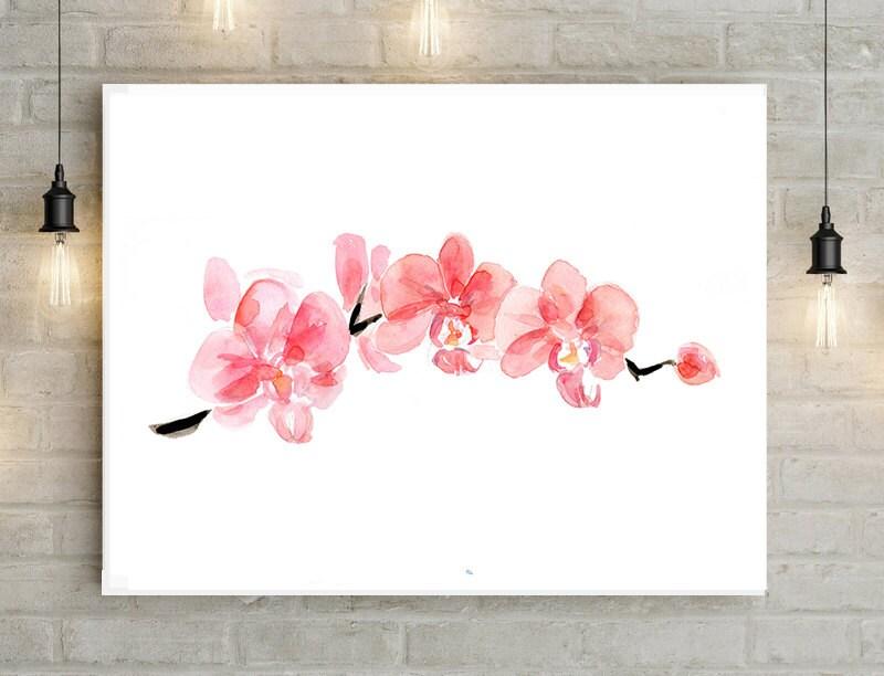 Orchidee aquarel schilderij roze orchidee print poster
