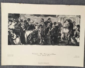 Veronese. The marriage of Cana. 1920's antique print
