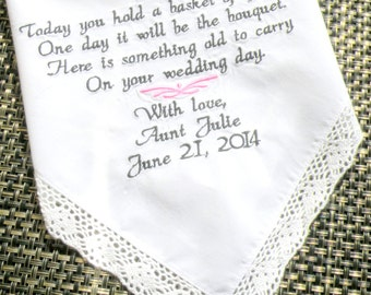 Flower Girl Wedding Gift Embroidered Wedding Handkerchief, Something Old, by Wedding Day Gifts