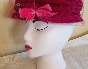 Vintage Andrea Fashions N.Y. Velvet Hat, Vintage Velvet Hat, Vintage Hats, Vintage Fuschia Velvet Hat, 1950s Velvet Hat, Fuschia Hat