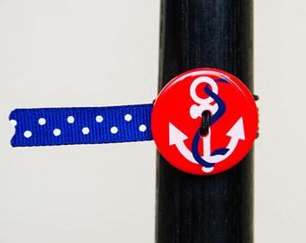 BosoBuddies - Red Anchor w/ Blue White Dots Ribbon (1210B-047)