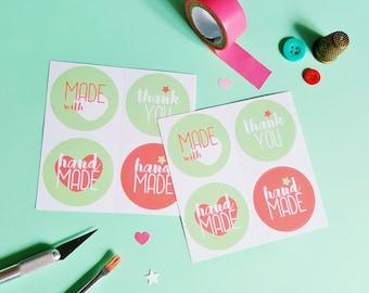 Etichette confezioni regalo, etichetta handmade, confezione regalo, etichette adesive handmade, etichette grazie, adesivi per bomboniere