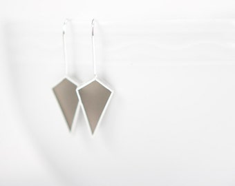 This Time Earrings gray gem shape geometric