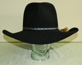 "Size 7-3/8 70s Resistol Rough Stock  5X Beaver Black Cowboy Hat Bull Rider Depressed Tear Drop Crown 7"" Raw Edge Brim 5-3/4"" Crown Blocked"