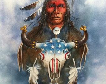 ORIGINAL Native American painting by Santa Ana Pueblo artist, Art Menchego