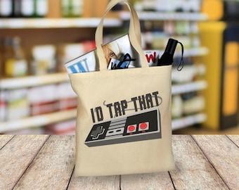 Tote Bag, I'd Tap That, Gaming Tote Bag, Monogram, Emblem, Shopping Bag, Cotton Tote Bag