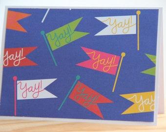 12 Celebration Cards. Yay! Note Cards. Birthday Card Set. Congratulation Card Set. Blank Note Cards for Celebrations