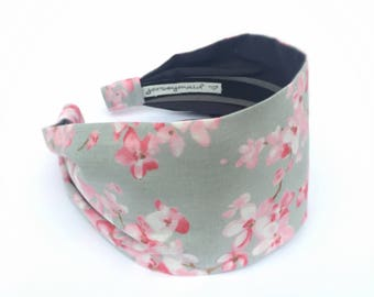 Womens wide headbands Japanese Cherry Blossom fabric hair band - pink sakura hairband grey head band with flowers - spring summer hairbands