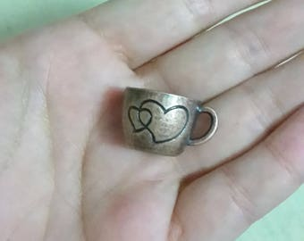 Great charm Cup with hearts etched in metal bronze