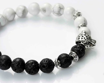 Bracelet in lava stone and natural black and white Leopard charm antique silver