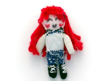 Miniature rag doll, dollhouse doll, handmade rag doll, dollhouse miniature, rag doll miniature, cute rag doll with red hair made of yarn