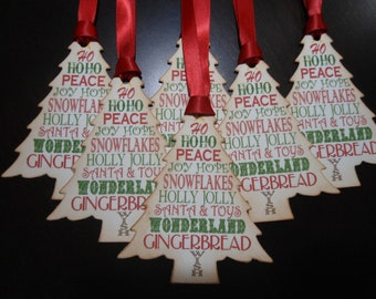 Tree Shaped Worded Chistmas Tags