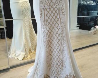 White sequin tribal fusion mermaid skirt