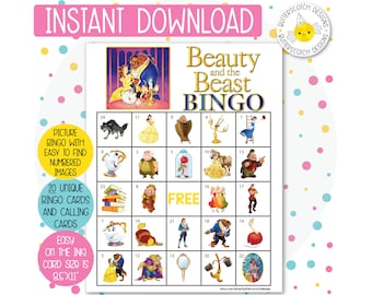Beauty and the Beast Printable Bingo Cards (20 Different Cards) - Instant Download